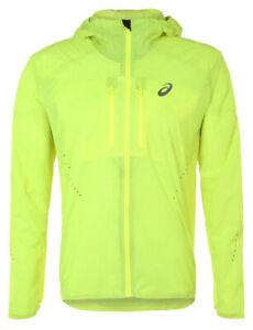 Asics Men's Elite Jacket Waterproof Reflective Running Jacket - Yellow - New