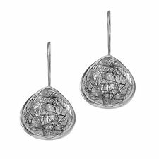 Phillip Gavriel 925 Sterling Silver Black Rutilated Quartz Teardrop Earrings