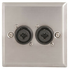 "2x XLR Female & 6.35mm Stereo Combo Socket Steel Wall Face Plate – Mic ¼"" Outlet"