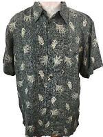 Marc Edwards mens Hawaiian shirt size L large SILK palm leaves gray cream