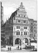 Nysa, Neisse, Polen, Kämmereigebäude, Original-Holzstich von 1892