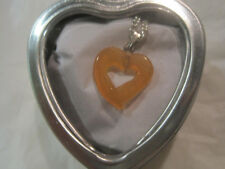 "Peach Cats Eye Open Heart 18"" Silver Necklace w/Heart Box~Free Ship~LBDLB"