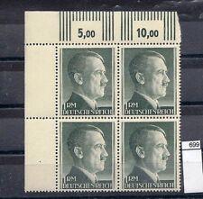 1941 D.R. Lot- 4 Block m.seiten u Oberr.r.O.1RM Markenw B.Freimarken A.Hitler **