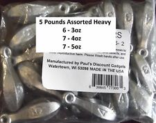 Bulk Fishing Sinkers / Weights Bank Bullet Sinker -  5 lbs Assorted 3, 4 & 5 OZ.