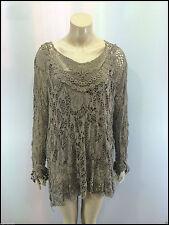 Ladies 2 in 1 Italian Long Sleeve Crochet Top Tunic Lace Mesh Mocha One Size Plus