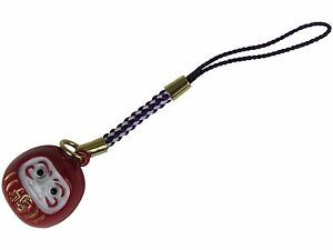 Japanese Netsuke Keychain Charm Red Daruma Wish Making Good Luck Health & Rich