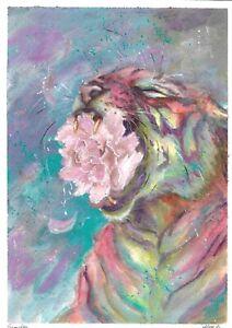 original drawing A4 20XA art samovar modern Mixed Media animal tiger Signed 2021