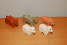Lot of 5 Lego Duplo Vintage Farm Animals Cow Horse Pig Sheeps