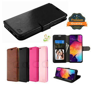For Samsung Galaxy A20 Leather Flip Wallet Credit Cards Case Stand Phone Cover