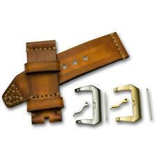 DuK Handmade genuine leather watch strap vintage look thick tough brown tan