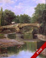 Pierre Pont sur Calm Rivière Espagnol Paysage Peinture Art Real Impression Toile