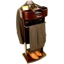 Deluxe Men's Suit Stand Valet Wardrobe Clothes Rack Wood Walnut Storage New