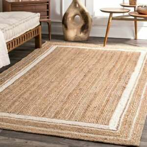 9x12 feet square Indien braided natural jute floor rug with white color boundary