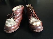 Vintage Toddler Boy's Children's leather brown shoes fur size 13