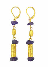 ACROSS THE PUDDLE 24k GP Pre-Columbian Seal Roller with Amethyst Dangle Earrings