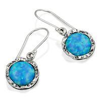 Stera Jewelry 925 Sterling Silver 10 mm Blue Fire Opal Dangle Earrings for Women
