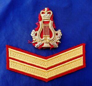 VIETNAM ERA NEW ZEALAND MILITARY BAND BRASS HAT BADGE & CORPORALS RANK CHEVRON