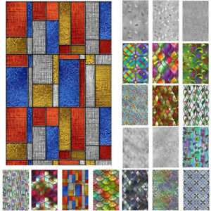 3D Window Film Rainbow Privacy Stained Glass Static Cling Stickers Frosted Decos