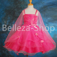 Beaded Satin Tulle Flower Girl Dress Wedding Pageant Party Formal Sz 18m-8 #275