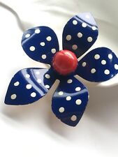 Enamel Navy Color Flower Brooch With White Polka Dots And Red Center Pin Vintage