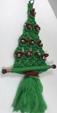 Vintage Macrame Christmas Tree Wall Hanging Green Red Bells Fringe Holiday Decor