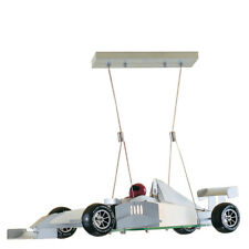 Searchlight F1 Novelty Satin Silver Racing Car Pendant Light Frosted Glass
