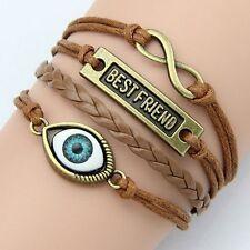Bracelets Fashion Vintage infinity Rudder Rectangle Leather Bracelet best friend