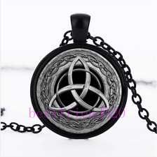 Celtic Trinity Knot Glass Cabochon Black Pendant Necklace Chain + Free Gift