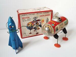 Vintage Yonezawa Moon Explorer M-27 NASA, battery toy with remote, Japan-WORKS