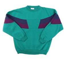 "Vtg 90s The Apparel Zone Adult Large 46"" Crewneck Sweatshirt Color Block Green"