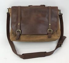 Messenger Briefcase Leather Suede Shoulder Bag Brown Distressed Hipster