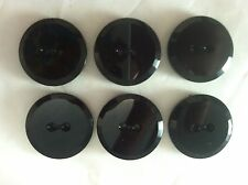 6 Jet Black Glass Tailored Cut Edge  Button Set