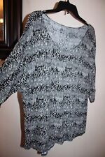 GEORGE L Black/Gray Abstract Stripe Dot Loose 3/4 Batwing Sleeve Rayon Knit Top