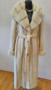 Weasel Mink Coat Fur Coat Belt Collar Long Coat Full Length Real Fur Sz.M/L 0.99