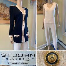 ST JOHN Size 4/Med 3-Piece Set Ivory White Black Santana Stretch Knit PANT SUIT