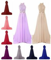 Chiffon Lace Long Bridesmaid Prom Dress Evening Formal Party Ball Gown Size 6-20