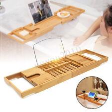 Adjustable Bamboo Bathtub Rack Caddy Bath Bridge Tidy Tub Tray Laptop Holder