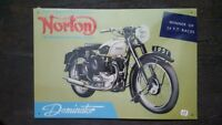 NORTON Dominator 1951 Placa metalica litografiada publicidad 40 x 28 cm. replica