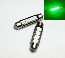 2x C10W Festoon 42mm 264 Ultra Bright 4 LED SMD SV8,5 Green Interior Bulbs A
