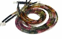 """A++ Multi Tourmaline Gemstone 3-4 mm Rondelle Faceted Beads 18"""" Necklace"""