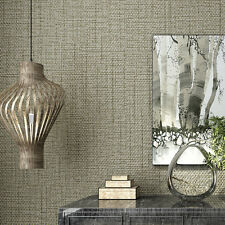 56SF/10M Roll Coffee Modern Simple Style Dot$Line Flax Texture Embosse Wallpaper