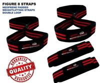 Figure 8 Weight lifting Straps Neoprene Padded Gym Bar Strength Training Wraps