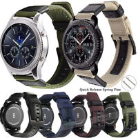 Quick Release Pin Leather Woven Nylon Watch Band Wrist Strap Bracelet 20mm 22mm