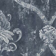 Wallpaper French Faux Navy Blue Large Damask with Silver and White