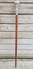 Designer SILVER Brass Handle BROWN Wooden Walking Stick Victorian Vintage Cane