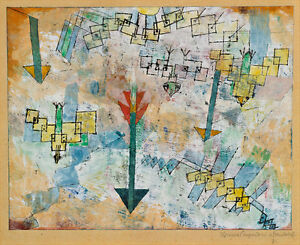 Birds Swooping Down and Arrows by Paul Klee 60cm x 49cm High Quality Art Print