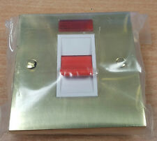 45A Cooker Switch V963W , Victorian range Polished Brass Square Edge Plate
