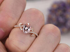 Ct Oval Cut Pink Morganite Simulant Diamond Engagement Ring Silver Rose Gold Fns