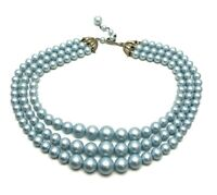 Vintage Light Pastel Blue Matte Bead Necklace Graduated Three Strands