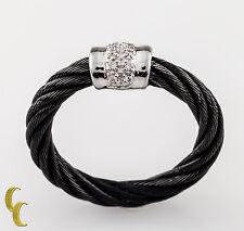 Charriol 18k Oro Blanco/Diamond Cable Negro Anillo Celta Noir Collection 6.25